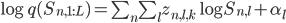 \log q(S_{n,1:L}) = \sum_{n}\sum_{l} z_{n,l,k}\log S_{n,l} + \alpha_l