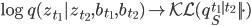 \log q(z_{t_1} | z_{t_2},b_{t_1},b_{t_2}) \to \mathcal{KL}(q_S^{t_1|t_2}|| \cdot)