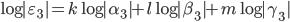 \log|\varepsilon_3| = k \log|\alpha_3|  + l \log |\beta_3| + m \log |\gamma_3|