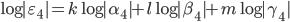 \log|\varepsilon_4| = k \log|\alpha_4|  + l \log |\beta_4| + m \log |\gamma_4|