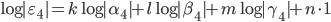 \log|\varepsilon_4| = k \log|\alpha_4|  + l \log |\beta_4| + m \log |\gamma_4| + n \cdot 1