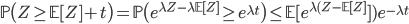 \mathbb{P}\big(Z \geq \mathbb{E}[Z] + t \big) = \mathbb{P}\big(e^{\lambda Z - \lambda \mathbb{E}[Z]} \geq e^{\lambda t} \big) \leq  \mathbb{E}[ e^{\lambda(Z -\mathbb{E}[Z]}])e^{-\lambda t}