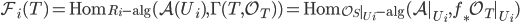 \mathcal{F}_i(T) = \mathrm{Hom}_{R_i\text{-alg}}(\mathcal{A}(U_i),\Gamma (T,\mathcal{O}_T))= \mathrm{Hom}_{\mathcal{O}_S|_{U_i}\text{-alg}}(\mathcal{A}|_{U_i},f_{*}\mathcal{O}_T|_{U_i})