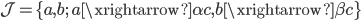 \mathcal{J} = \{a, b; \ a \xrightarrow{\alpha} c, b \xrightarrow{\beta} c\}