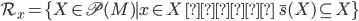 \mathcal{R}_x = \{ X \in \mathfrak{P}(M) \mid x \in X \ かつ \ \bar{s}(X) \subseteq X \}