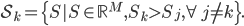 \mathcal{S}_k = \{S S\in \mathbb{R}^M, S_k>S_j, \forall  j\neq k\}.