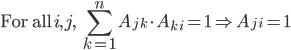 \mbox{For all}\: i, j,\:\; {\displaystyle \sum_{k=1}^n} A_{j\,k}\cdot A_{k\,i} = 1 \Rightarrow A_{j\,i} = 1