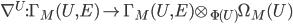 \nabla^U : \Gamma_M(U, E) \to \Gamma_M(U, E) \otimes_{\Phi(U)} \Omega_M(U)