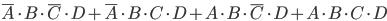 \overline{A} \cdot B \cdot \overline{C} \cdot D+ \overline{A} \cdot B \cdot C \cdot D+ A \cdot B \cdot \overline{C} \cdot D+A \cdot B \cdot C \cdot D
