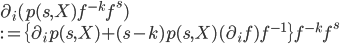 \partial_i(p(s, X)f^{-k}f^s)\\ := \{\partial_ip(s, X)+(s-k)p(s,X)(\partial_if)f^{-1}\}f^{-k}f^s