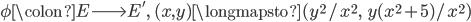 \phi \colon E \longrightarrow E', \; (x,  y) \longmapsto (y^2/x^2, \;\; y(x^2+5)/x^2)