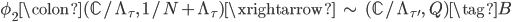 \phi_2\colon  (\mathbb{C}/\Lambda_{\tau}, \; 1/N + \Lambda_{\tau}) \xrightarrow{\;\;\sim \;\;} (\mathbb{C}/\Lambda_{\tau'}, \; Q) \tag{B}