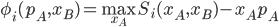 \phi_i(p_A,x_B)= \max_{x_A} S_i(x_A,x_B)-x_Ap_A