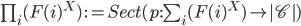 \prod_i (F(i)^X) \::=  Sect(p:\sum_{i}(F(i)^X) \to |\mathscr{C}|)
