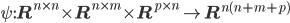 \psi: {\bf R}^{n\times n}\times {\bf R}^{n\times m}\times {\bf R}^{p\times n}\rightarrow {\bf R}^{n(n+m+p)}