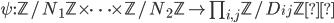 \psi:\mathbb{Z}/N_1\mathbb{Z} \times \cdots \times \mathbb{Z}/N_2\mathbb{Z} \to \prod_{i , j} \mathbb{Z}/D_{ij} \mathbb{Z}