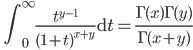 \qquad \displaystyle{\int_{0}^{\infty} \frac{t^{y-1}}{(1+t)^{x+y}} \mathrm{~d} t=\frac{\Gamma(x)\Gamma(y)}{\Gamma(x+y)}}