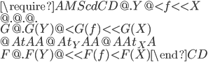 \require{AMScd} \begin{CD} @. Y @< f << X \\ @. @. @. \\ G @. G(Y) @< G(f) << G(X) \\ @A t AA @A t_Y AA @AA t_X A \\ F @. F(Y) @<< F(f) < F(X)  \end{CD}
