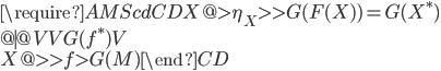 \require{AMScd} \begin{CD} X @> \eta_X >> G(F(X)) = G(X^*) \ @| @VV G(f^*) V \ X @>> f > G(M) \end{CD}