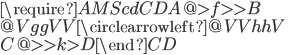 \require{AMScd}\begin{CD}A @>{f}>> B\\@V{gg}VV {\large\circlearrowleft} @VV{hh}V\\C @>>{k}> D\end{CD}