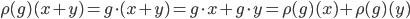 \rho(g)(x + y) = g\cdot (x + y) = g\cdot x + g\cdot y = \rho(g)(x) + \rho(g)(y)