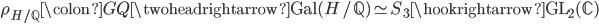 \rho_{H/\mathbb{Q}} \colon G_\mathbb{Q} \twoheadrightarrow \operatorname{Gal}(H/\mathbb{Q}) \simeq S_3 \hookrightarrow  \operatorname{GL}_2(\mathbb{C})