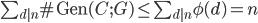 \sum_{d|n} \mathrm{\# Gen}(C; G) \leq  \sum_{d|n} \phi(d) = n