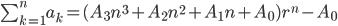 \sum_{k = 1}^n a_k = ( A_3 n^3 + A_2 n^2 + A_1 n + A_0 ) r^n - A_0