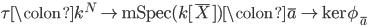 \tau \colon k^N \to \mathrm{mSpec} (k[ \bar{X} ] ) \colon \bar{a} \mapsto \mathrm{ker} \phi_{\bar{a} }
