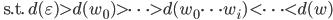 \text{ s.t. } d(\varepsilon) \gt d(w_0) \gt \cdots \gt d(w_0\cdots w_i) \lt \cdots \lt d(w)