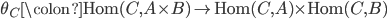 \theta_{C} \colon \text{Hom}(C, A \times B) \to \text{Hom}(C,A) \times \text{Hom}(C, B)