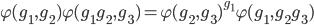 \varphi(g_1, g_2) \varphi(g_1g_2, g_3) = \varphi(g_2, g_3)^{g_1} \varphi(g_1, g_2 g_3)