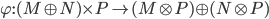 \varphi: (M \oplus N) \times P \to (M \otimes P) \oplus (N \otimes P)