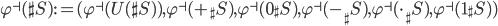 \varphi^\dashv(\sh{S}) := (\varphi^\dashv(U(\sh{S})), \varphi^\dashv(+_\sh{S}), \varphi^\dashv(0_\sh{S}), \varphi^\dashv(-_\sh{S}), \varphi^\dashv(\cdot_\sh{S}), \varphi^\dashv(1_\sh{S}))