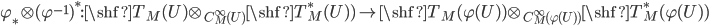 \varphi_* \otimes (\varphi^{-1})^* :\shf{T}_M(U) \otimes_{C^\infty_M(U)} \shf{T}^*_M(U)) \to \shf{T}_M(\varphi(U)) \otimes_{C^\infty_M(\varphi(U) )} \shf{T}_M^*(\varphi(U))