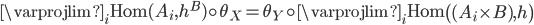 \varprojlim_{i} \text{Hom} (A_{i}, h^{B}) \circ \theta_{X} = \theta_{Y} \circ \varprojlim_{i} \text{Hom} \left( (A_{i} \times B), h \right)