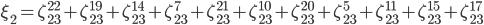 \xi_2 = \zeta_{23}^{22} +\zeta_{23}^{19}+\zeta_{23}^{14}+\zeta_{23}^{7}+\zeta_{23}^{21}+\zeta_{23}^{10}+\zeta_{23}^{20}+\zeta_{23}^{5}+\zeta_{23}^{11}+\zeta_{23}^{15}+\zeta_{23}^{17}