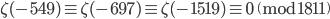 \zeta(-549) \equiv \zeta(-697) \equiv \zeta(-1519) \equiv 0 \pmod{1811}
