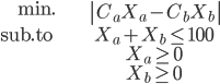 { \begin{align}   \mathrm{min.} & \left| C_a X_a - C_b X_b \right| \\   \mathrm{sub. to\ } & X_a + X_b \le 100 \\   & X_a \ge 0 \\   & X_b \ge 0  \end{align} }