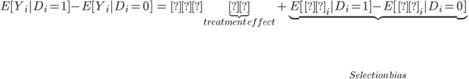 { \begin{eqnarray} E[Y_i|D_i = 1] - E[Y_i |D_i =0] &=& \underbrace{ρ}_{treatment\,effect} + \underbrace{E[ε_i|D_i = 1] - E[ε_i|D_i =0]}_{Selection\, bias} \end{eqnarray} }