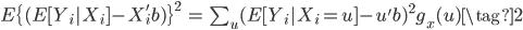 { \begin{eqnarray} E\{ (E[Y_i|X_i]-X_i'b)\}^2 &=&  \sum_u (E[Y_i|X_i = u] - u'b)^2 g_x(u) \tag{2} \end{eqnarray} }