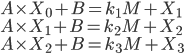 { A \times X_0 + B = k_1 M + X_1 \\ A \times X_1 + B = k_2 M + X_2 \\ A \times X_2 + B = k_3 M + X_3 }