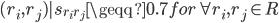 {(r_i, r_j) | s_{r_i r_j} \geqq 0.7 for \forall r_i, r_j \in R}