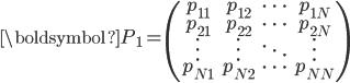 {\boldsymbol{P}_1}=\begin{pmatrix} p_{11}&p_{12}&\cdots&p_{1N}\\ p_{21}&p_{22}&\cdots&p_{2N}\\ \vdots&\vdots&\ddots&\vdots\\ p_{N1}&p_{N2}&\cdots&p_{NN}\\ \end{pmatrix}