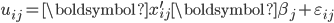{\displaystyle     u_{ij} =  \boldsymbol{x}_{ij}^\prime \boldsymbol{\beta}_j + \varepsilon_{ij} }