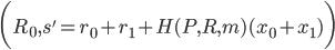{\displaystyle \biggl( R_0, s' = r_0 + r_1 + H(P, R, m)(x_0 + x_1)\biggr)}