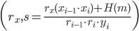 {\displaystyle \biggl( r_x, s = \frac{r_x(x_{i-1} \cdot x_i) + H(m)}{r_{i-1} \cdot r_i \cdot y_i} \biggr) }