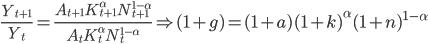 {\displaystyle \frac{Y_{t+1}}{Y_t} = \frac{A_{t+1} K^{\alpha}_{t+1} N^{1-\alpha}_{t+1}}{A_{t} K^{\alpha}_{t} N^{1-\alpha}_{t}}  \Rightarrow  (1+g) = (1+a)(1+k)^{\alpha}(1+n)^{1-\alpha}}