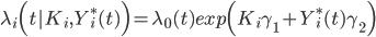 {\lambda}_i \Bigl( t | K_i, Y^{*}_{i}(t) \Bigr) =  {\lambda}_0(t) exp \Bigl( K_i{\gamma}_1 + Y^{*}_{i}(t){\gamma}_2 \Bigr)