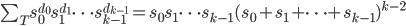 {\sum_T s_0^{d_0}s_1^{d_1} \dots s_{k-1}^{d_{k-1}} = s_0 s_1 \dots s_{k-1} (s_0 + s_1 + \dots + s_{k-1})^{k-2}}